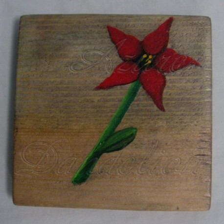 Original Primitive Folk Art Red Star Flower Natural Painting