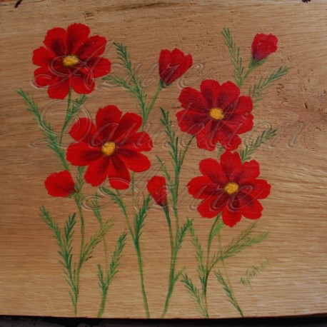 Primitive Folk Art Red Cosmos Painting on Salvaged Natural Rustic Wood