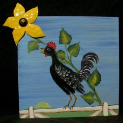 Original Primitive Folk Art Rooster Painting Metal Sunflower Farmhouse Decor