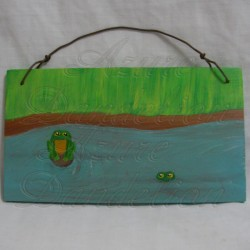 Primitive Folk Art Frogs Pond Original Painting on Reclaimed Cedar