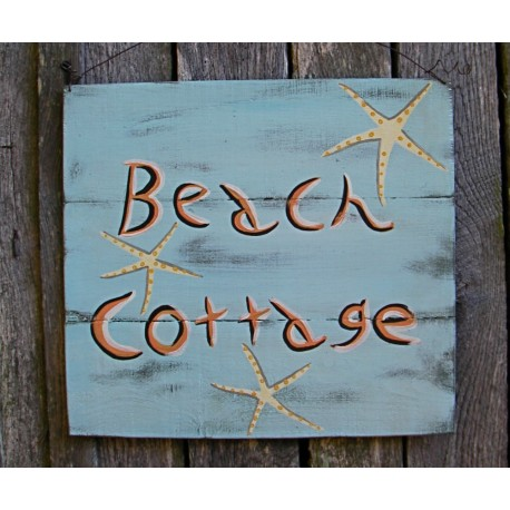 Beach Cottage Sign Primitive Folk Art Original Starfish Painting