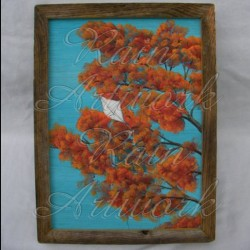 Original Folk Art Autumn Kite Flying Painting in Barn Wood Frame