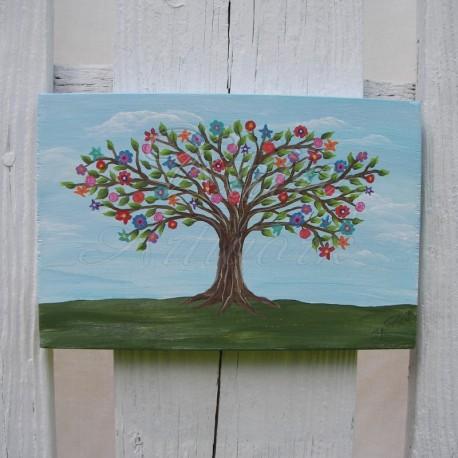 Original Primitive Folk Art Penny Rug Tree of Life Painting Farmhouse Decor
