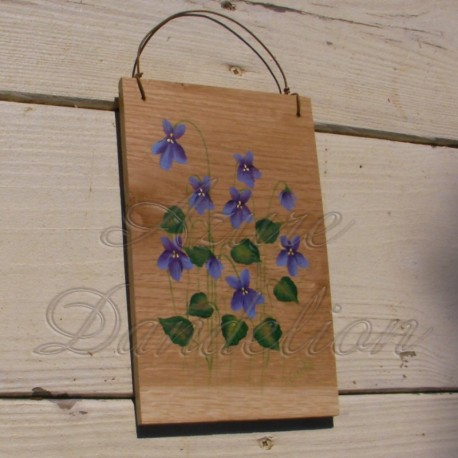 Primitive Folk Art Purple Violets Original Painting on Rustic Wood