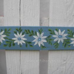 Original Door Topper Farmhouse Chic Blue Daisy Painting Folk Art