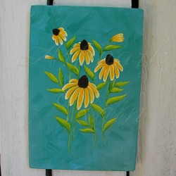 original black eyed susan primitive folk art flower painting modern farmhouse decor
