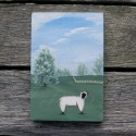 Original Primitive Folk Art Landscape with Sheep Painting Farmhouse Decor