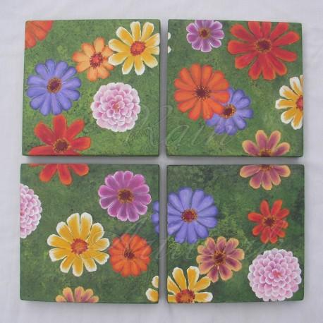 Chic Zinnia Flowers Painting Original Farmhouse Primitive Folk Art Colorful