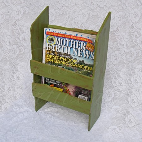 Primitive Farmhouse Magazine Rack Folk Art Shabby Basil Green Paint