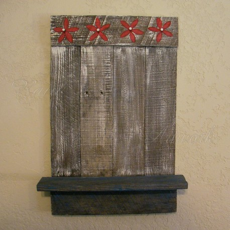 Primitive Farmhouse Jewelry Rack Red Flowers