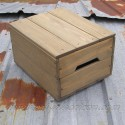 Natural Reclaimed Wood Lidded Crate Primitive Folk Art Rustic Farmhouse Decor Storage Wooden Bin Box