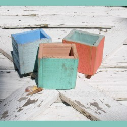 Beach Cottage Decor Pencil Box Holder Rustic Painted Wood Custom Finish Nautical Office Weathered Paint
