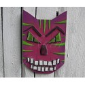 Original Funky Folk Art Magenta Cat Mask Scrap Pile Assemblage Salvage