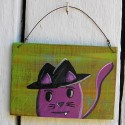 Primitive Funky Folk Art Purple Cat Wearing Hat Original Painting