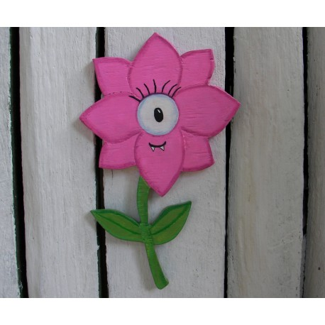 Primitive Funky Folk Art Pink Monster Flower Plywood Cutout