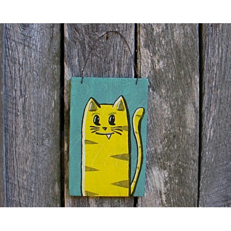 Primitive Funky Folk Art Lemon Yellow Tabby Cat Original Painting