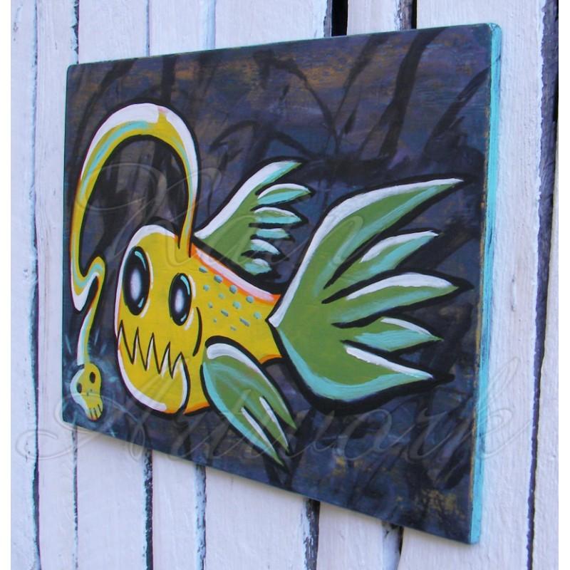 Primitive Funky Folk Art Angler Fish Painting Neon Yellow