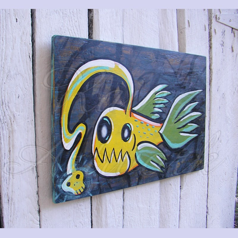 Primitive Funky Folk Art Angler Fish Painting Neon Yellow