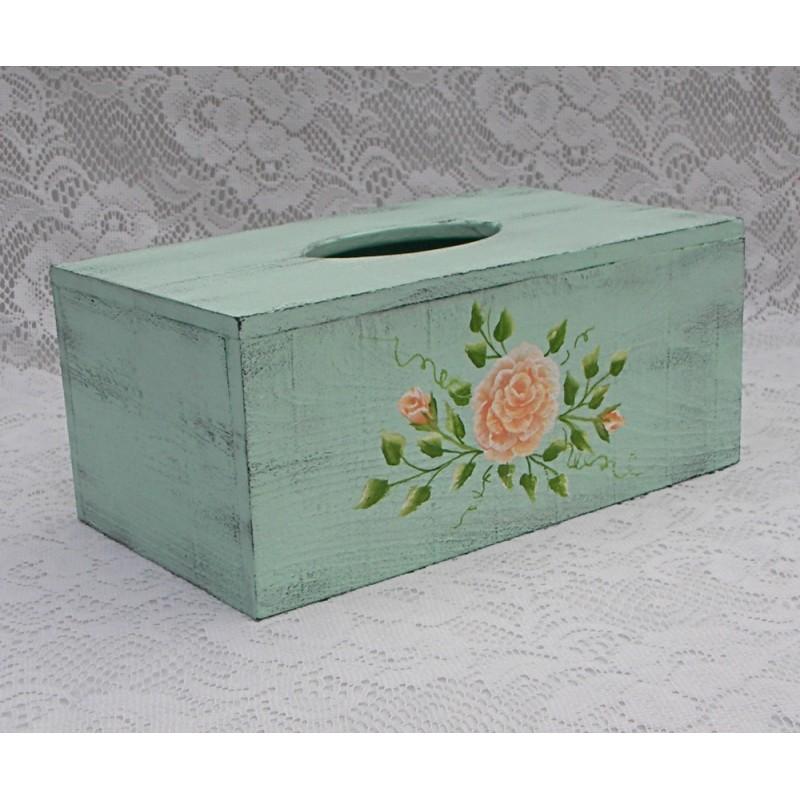 Country cottage decor tissue box holder shabby turquoise for Tissu shabby chic