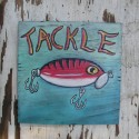 Primitive Folk Art Tackle Sign Original Fishing Lure Painting