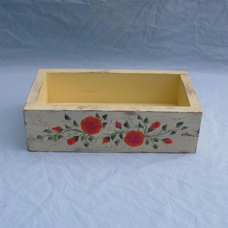 Primitive Folk Art Orange Roses Box Original Painting Country Cottage