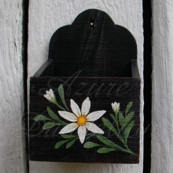 Primitive Folk Art Black Wall Box Farmhouse Chic Shabby Daisy Painting