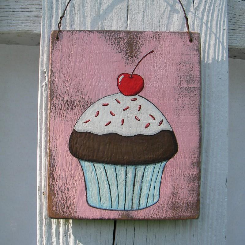 Original Chocolate Cupcake Painting Primitive Folk Art