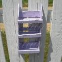 Primitive Folk Art Spice Rack Shabby Sweet Pea Purple Paint Country Cottage