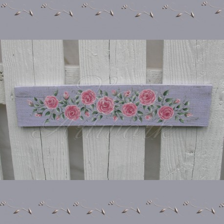 Original Country Cottage Chic Door Topper Pink Roses Painting