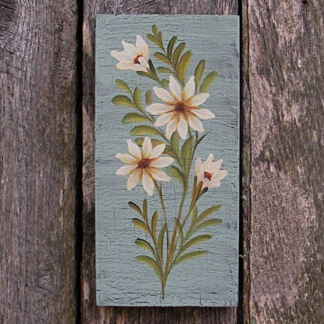 Primitive Folk Art Original Daisy Painting Country Cottage Chic