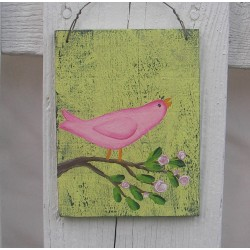 Original Country Cottage Chic Pink Bird on a Rose Branch Folk Art