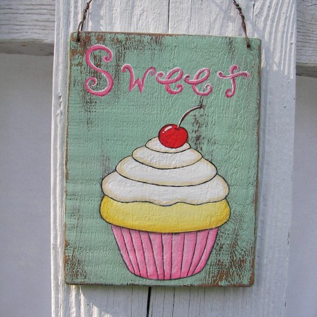 Original Cupcake Painting Sweet Sign Primitive Folk Art Chic Decor
