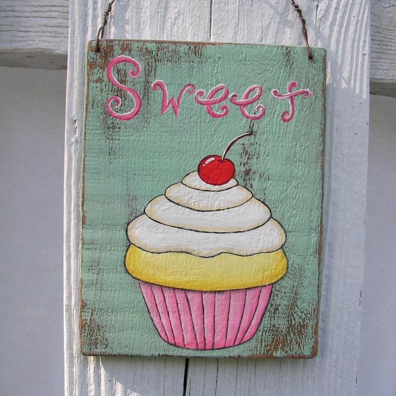 Original Cupcake Painting Sweet Sign Primitive Folk Art