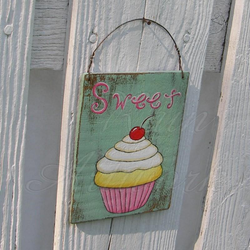 Art Décor: Original Cupcake Painting Sweet Sign Primitive Folk Art