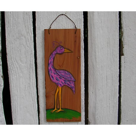 Funky Folk Art Bird Original Primitive Painting On Salvaged Cedar Wood