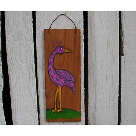 Funky Folk Art Bird Original Primitive Painting On Salvaged Cedar Wood