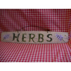Herbs Sign on Old Primitive Barrel Stave Original Lavender Folk Art