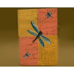 Springtime Primitive Folk Art Blue Dragonfly Original Painting on Wood