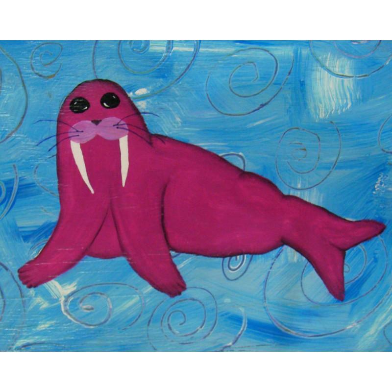 Original Primitive Folk Art Magenta Walrus Painting Funky