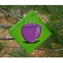 Christmas Ornament Coffee Cup Purple Urban Primitive Folk Art Painting