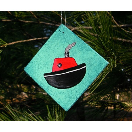 Christmas Ornament Primitive Folk Art Tugboat Nautical Decor Original
