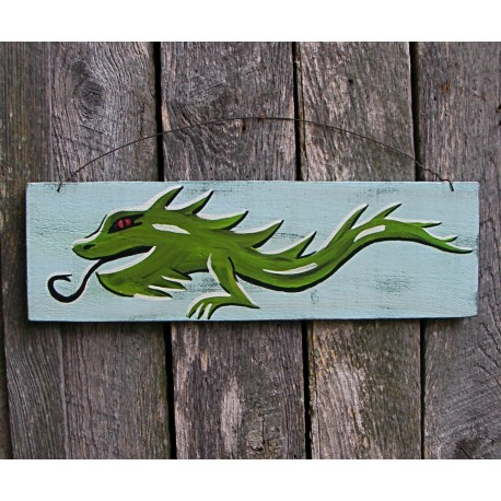 Original Funky Folk Art Japanese Dragon Painting On Salvaged Wood
