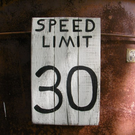 Speed Limit Road Sign Urban Decor Primitive Folk Art 30 mph