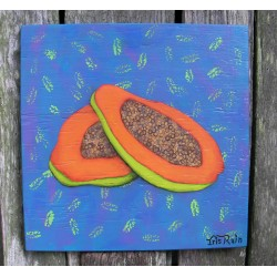 Original Funky Folk Orange Papaya Fruit Painting On Turquoise funky decor