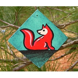 Fox Tree Ornament Red Fox Primitive Folk Art Original Painting