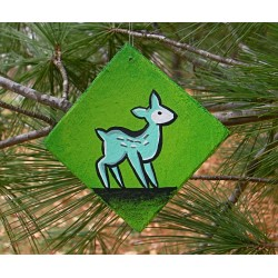 Funky Folk Art Blue Deer Christmas Tree Ornament Original Painting Woodland Animal