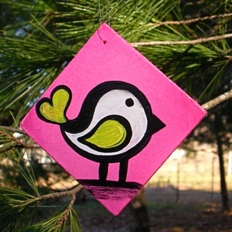 Funky Urban Bird Ornament Pink Primitive Folk Art Original Painting