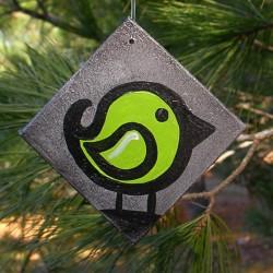 Funky Urban Lime Green Cute Bird Tree Ornament Primitive Folk Art Painting