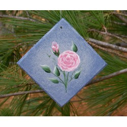 Pink Roses Country Cottage Chic Christmas Tree Ornament Primitive Folk Art Painting