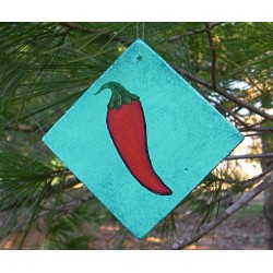 Primitive Farmhouse Folk Art Chili Pepper Christmas Tree Ornament Original Painting